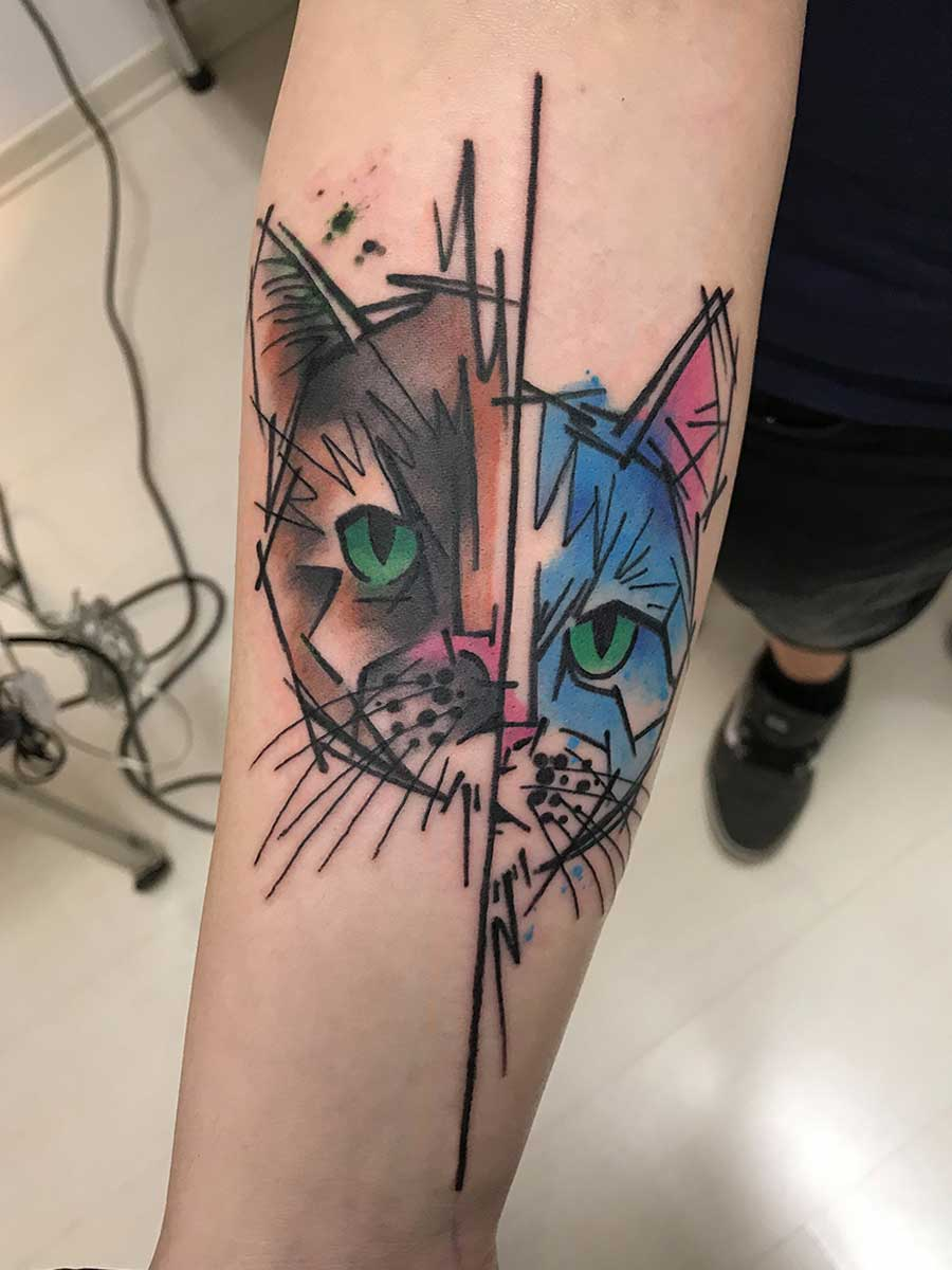 Tatuaggio acquerello gatti