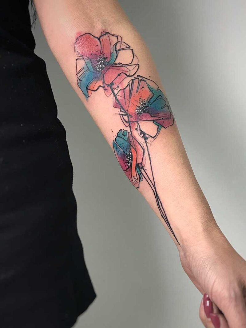 Tatuaggio papaveri acquerello