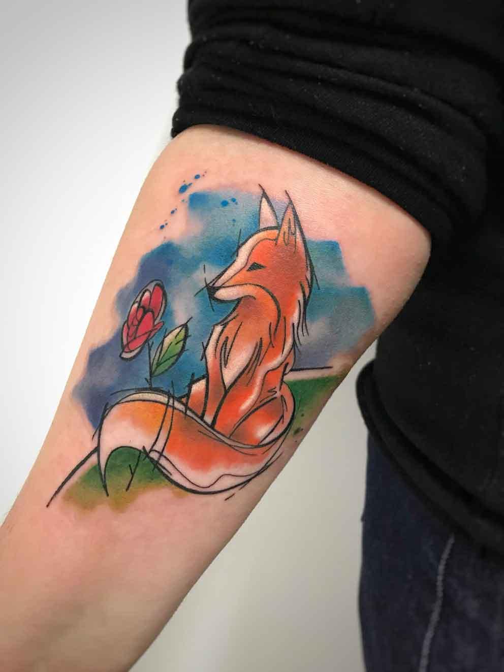 """Tatuaggio acquerello piccolo principe volpe ispirata a """"Il piccolo principe"""""""